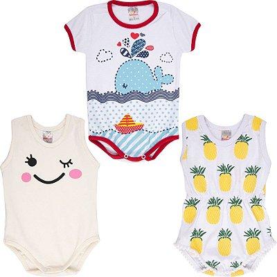 Roupa Bebê Menina Body Curto de Verão Isensee Kit 3 Bodies
