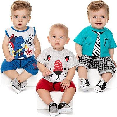 Roupa Bebê Menino Kit 3 Conjuntos Curto de Verão Isensee