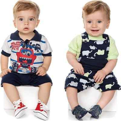 Roupa Bebê Menino Kit 2 Conjuntos Curto Verão Isensee