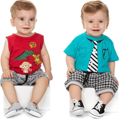 Roupa Bebê Menino Kit 2 Conjuntos Camiseta e Bermuda Isensee