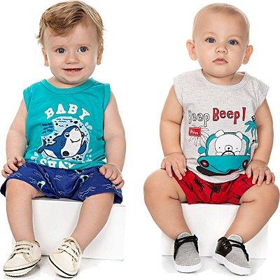 Roupa de Bebê Menino Kit 2 Conjuntos Camiseta e Bermuda Baby