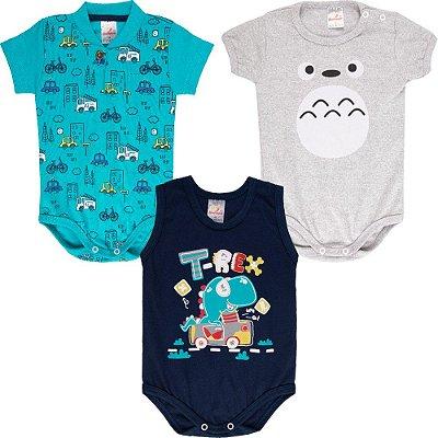 Roupa Bebê Menino Body Curto Verão Isensee Kit 3 Bodies