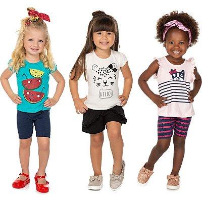 Roupa Bebê Infantil Menina Kit 3 Conjuntos Curto de Verão