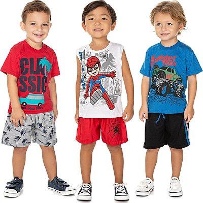 Roupa Bebê Infantil Menino Kit 3 Conjuntos Curto de Verão