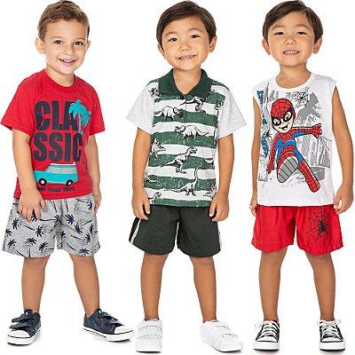 Roupa Bebê Menino Kit 3 Conjuntos Camiseta e Bermuda Verão