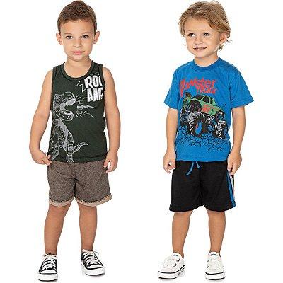 Roupa Bebê Infantil Menino Kit 2 Conjuntos Curtos de Verão