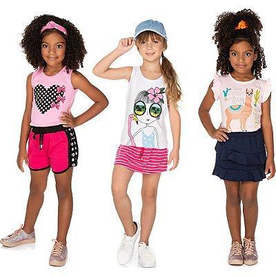 Roupa Infantil Menina Kit 3 Conjuntos Curto Verão Isensee