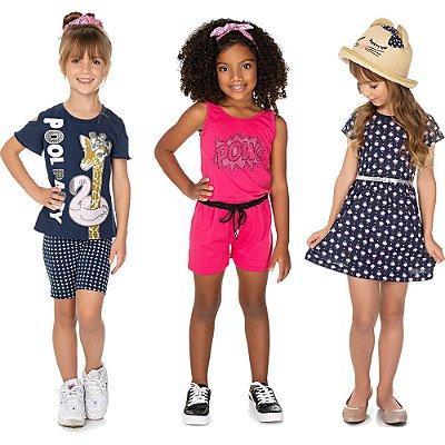 Roupa Infantil Menina Kit 1 Conjunto 1 Macaquinho 1 Vestido