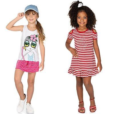 Roupa Infantil Menina Kit 1 Conjunto e 1 Vestido Verão