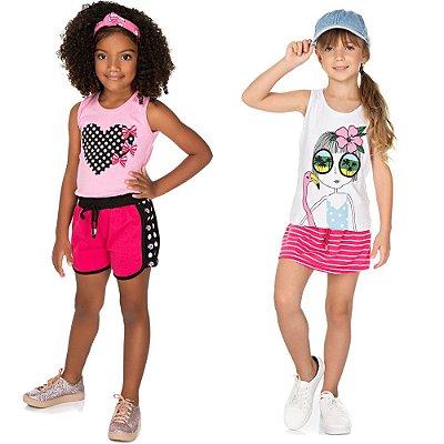 Roupa Infantil Menina Kit 2 Conjuntos Regata e Shorts Verão