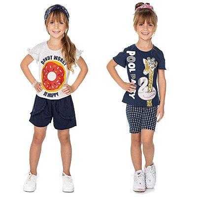 Roupa Infantil Menina Kit 2 Conjuntos Blusa e Bermuda Verão