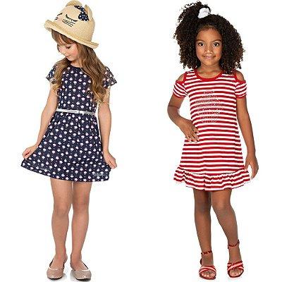 Roupa Infantil Menina Kit 2 Vestidos Curtos de Verão Isensee