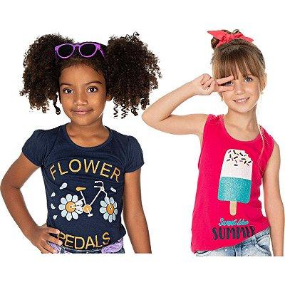 Roupa Infantil Menina Kit 2 Camisetas Meia Manga e Regata