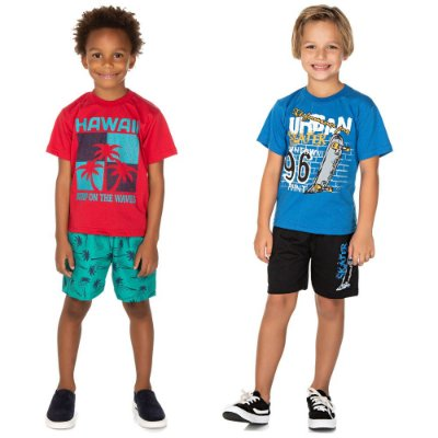 Roupa Infantil Menino Kit 2 Conjuntos Manga Curta e Bermuda