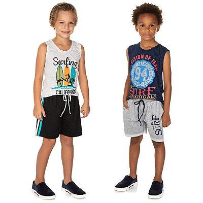 Roupa Infantil Kit 2 Conjuntos Camiseta e Bermuda Menino