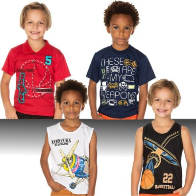 Roupa Infantil Kit 4 Camisetas Curtas Verão Isensee Menino