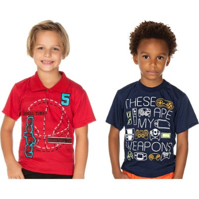 Roupa Infantil Kit 2 Camisetas Manga Curta Polo Gola Redonda
