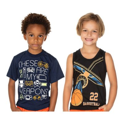 Roupa Infantil Kit Camiseta Regata + Manga Curta Menino