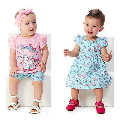 Roupa Bebê Menina Kit 1 Conjunto Blusa e Bermuda e 1 Vestido