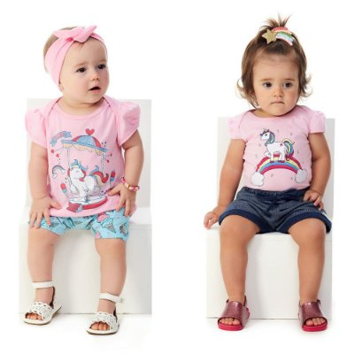 Roupa Bebê Menina Kit 1 Conjunto Body Shorts 1 Blusa Bermuda
