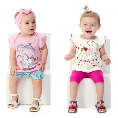 Roupa Bebê Menina Kit 2 Conjuntos Curtos de Verão Abrange