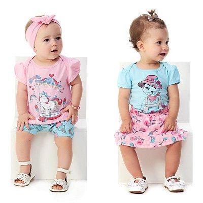 Kit 2 Conjuntos Bebê Menina Blusa e Bermuda + Body e Saia