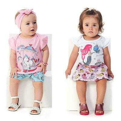 Kit 2 Conjuntos Curtos de Verão Bebê Menina Abrange