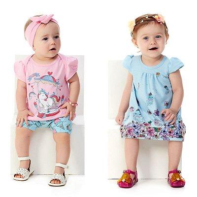 Kit 2 Roupinhas Bebê Menina 1 Conjunto e 1 Vestido Abrange