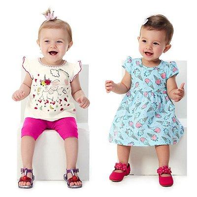 Kit 1 Conjunto Blusa e Capri + 1 Vestido Bebê Menina Verão