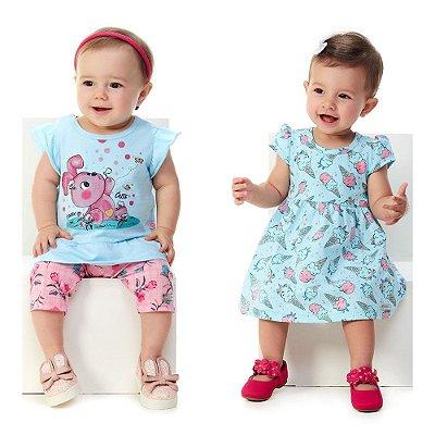 Kit Roupinha Bebê Menina 1 Conjunto e 1 Vestido Curto Verão