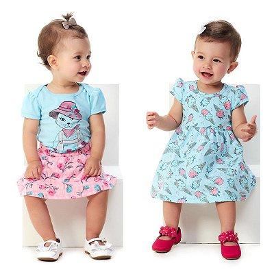 Kit Roupa Bebê Menina 1 Conjunto Body e Saia e 1 Vestido
