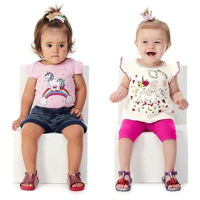 Kit 2 Conjuntos Bebê Menina Blusa e Capri + Body e Shorts