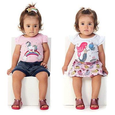 Kit 2 Conjuntos Bebê Menina Bodies Gola Americana Abrange
