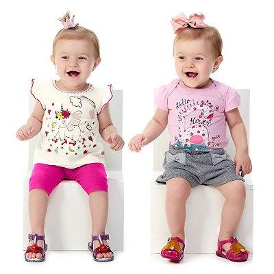 Roupa de Bebê Menina Conjunto Curto de Verão Kit 2 Conjuntos