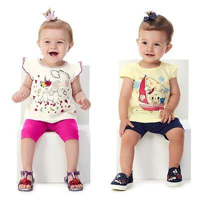 Roupa de Bebê Menina Kit 2 Conjuntos Curtos de Verão Abrange