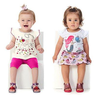 Roupa de Bebê Menina Blusa e Capri + Body e Saia Curto Verão