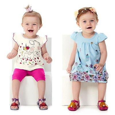Roupa de Bebê Menina Conjunto Blusa e Capri + Vestido Verão
