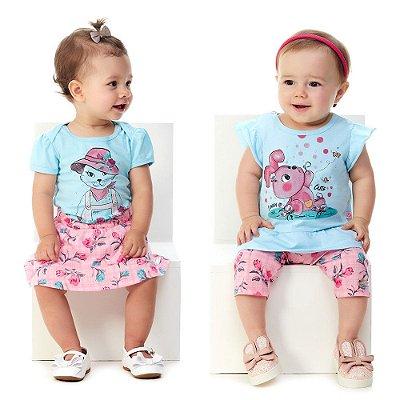 Roupa de Bebê Menina Conjuntos Body e Saia + Blusa e Capri