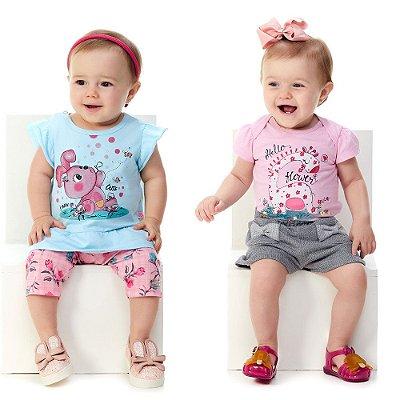 Roupa de Bebê Menina Kit 2 Conjuntos Verão 4 Peças Abrange
