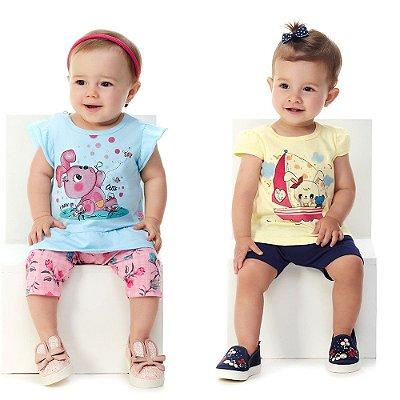 Roupa Bebê Menina Conjuntos Blusa e Capri + Blusa e Bermuda