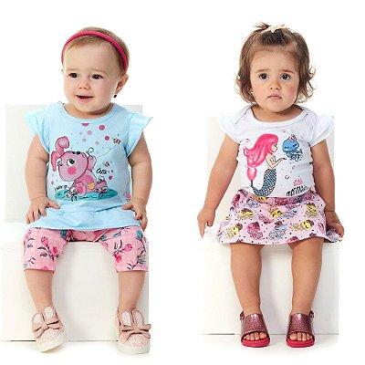 Roupa Bebê Menina Conjuntos Blusa e Capri + Body e Saia
