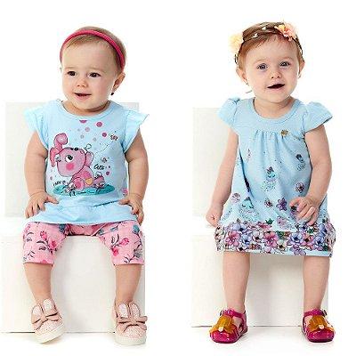 Roupa de Bebê Menina Kit Conjunto Blusa e Capri + Vestido