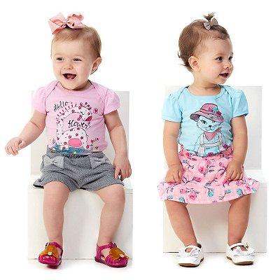 Roupa de Bebê Menina Kit Verão Blusa e Shorts + Body e Saia