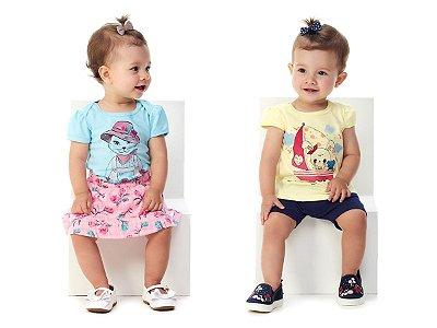 Roupa de Bebê Menina Kit Verão Body e Saia + Blusa e Bermuda