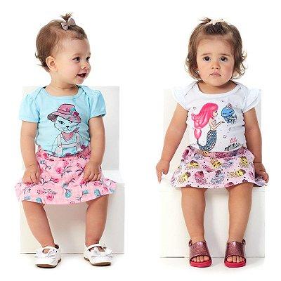 Roupa de Bebê Menina Kit 2 Conjuntos Body e Saia Curto Verão