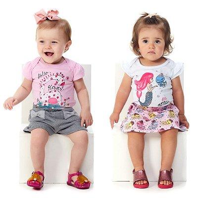 Kit Roupa Bebê Menina Conjuntos Blusa e Shorts + Body e Saia