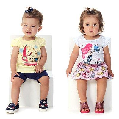 Roupa de Bebê Menina Kit Conjunto Ciclista + Body e Saia