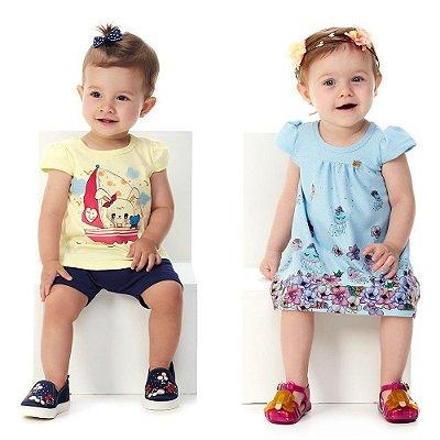 Kit Roupa Bebê Menina Conjunto Blusa e Bermuda + Vestido