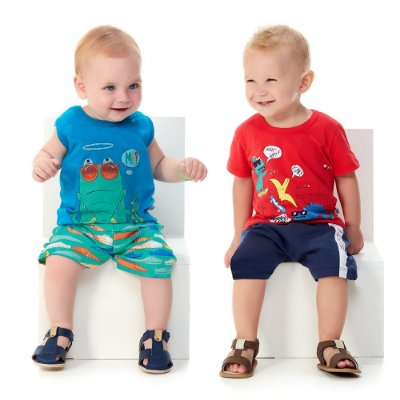 Kit 2 Conjuntos Bebê Menino Camiseta e Bermuda Verão Abrange