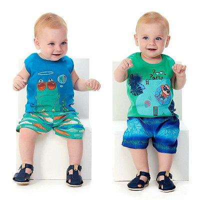 Roupa de Bebê Menino Kit 2 Conjuntos Camiseta Regata Bermuda